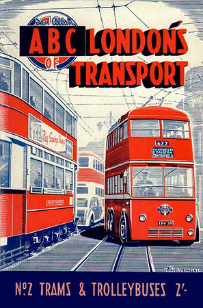 1949 2nd edtn, London's Transport 2nd Edition No.2 - Trams & Trolleybuses, by S L Poole, published May 1949, 72pp 2/-, code: 68/260/100/549. This appears to have been printed in two different colours; this has clearly got blue parts, whereas the following photo shows those parts to be such a dark shade of blue as to be almost black. I have a copy of the darker second version, and can vouch for this.