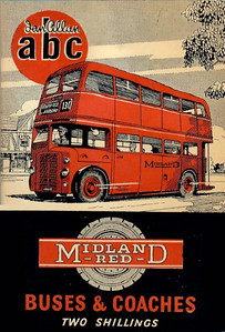 1955 Midland Red Buses & Coaches, 4th edition (with map), published May 1955, 64pp 2/6, code: 460/C/100/555.
