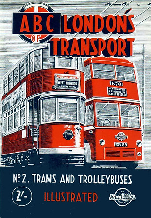 2000 reissue, 1948 London's Transport, 1st edition, No.2 - Trams & Trolleybuses, published May 2000, 64pp £4.99, ISBN 0-7110-2760-9, code: 0005/A, original cover. Originally published May 1948, 60pp 2/-, no code.