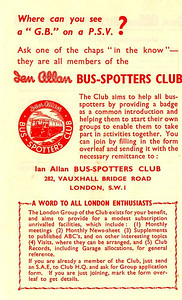 Bus-Spotters Club membership application form, early 1950s.