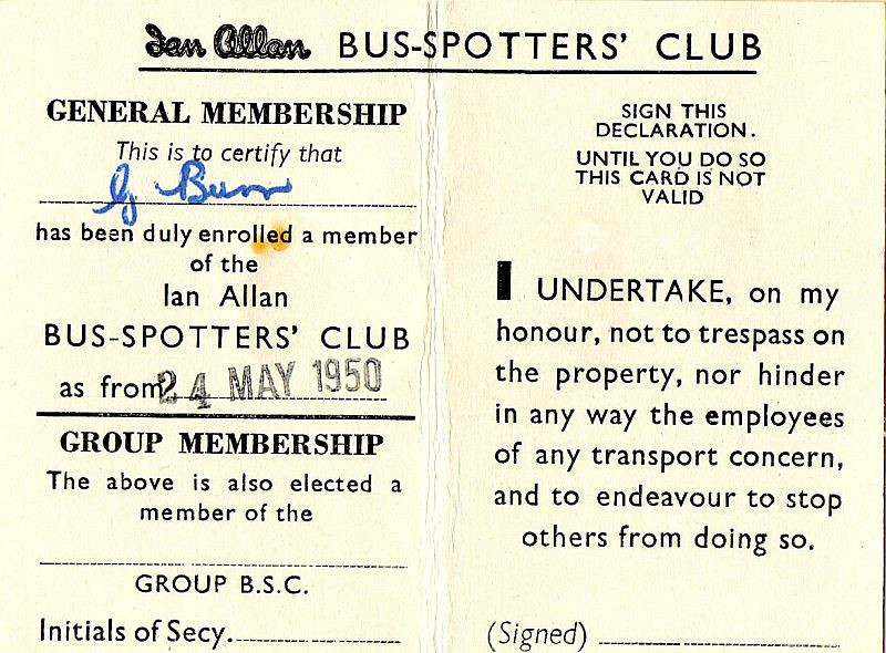 Bus-Spotters Club membership card (inside), May 1950.