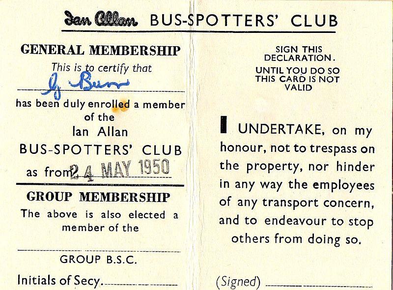 Bus-Spotters Club membership card (inside), May 1950.