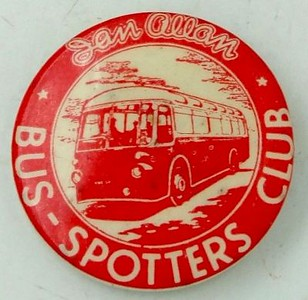 Bus-Spotters Club badge, tin, pin fastener, red, early 1950s.