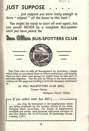 1952 advert for the Ian Allen Bus-Spotters Club, from the Ribble 1st edition, May 1952.