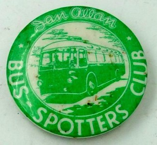 Bus-Spotters Club badge, tin, pin fastener, green, early 1950s.