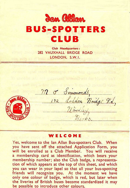 Bus-Spotters Club membership welcome letter, early 1950s.