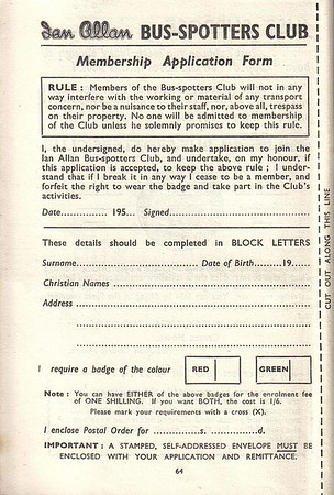 1952 application form for the Ian Allen Bus-Spotters Club, from the Ribble 1st edition, May 1952.