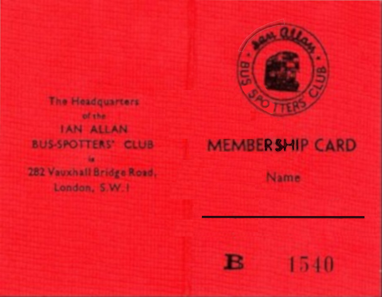 Bus-Spotters Club membership card (outside), May 1950.