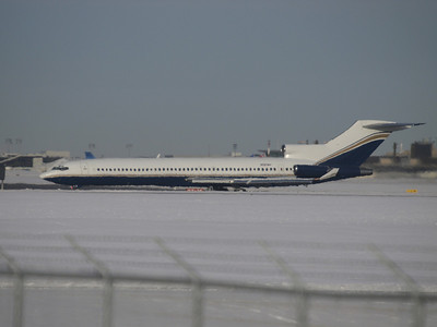 N727NY - December 16th. An immaculate 727 built in 1973. Diccult to get a good shot as she turned off early on her way to the Shell hangar area. Possibly bringing in the LA Kings hockey team. Interesting that we get a heat haze at -15C.