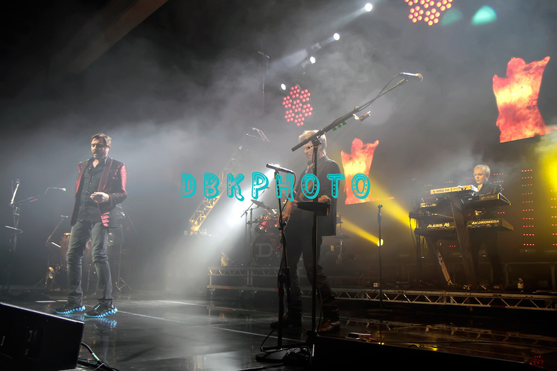 ATLANTIC CITY, NJ - OCTOBER 29:  Lead singer Simon Le Bon, Guitarist John Taylor and Nick Rhodes of  Duran Duran performs at The Borgata Event Center on October 29, 2011 in Atlantic City, New Jersey.