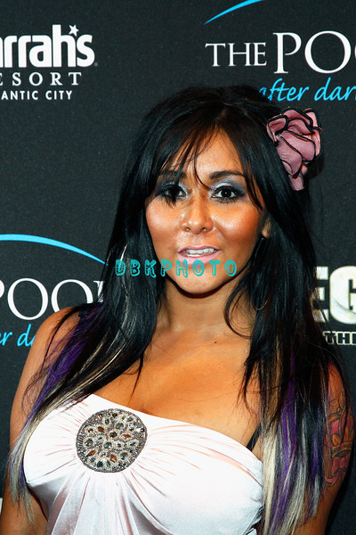 "ATLANTIC CITY, NJ - SEPTEMBER 24:  Nicole ""Snookie"" Polizzi visits The Pool at Harrah's Resort on September 24, 2011 in Atlantic City, New Jersey."