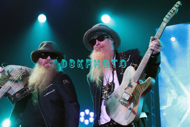 ATLANTIC CITY, NJ - MAY 26:  Dusty Hill and Billy Gibbons of ZZ Top performs at the Trump Taj Mahal on May 26, 2012 in Atlantic City, New Jersey.