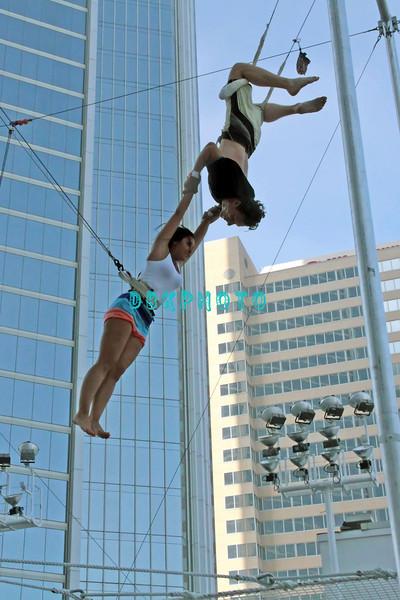 ATLANTIC CITY, NJ - JULY 06: Olivia Blois Sharpe performs on trapeze at Trump Taj Mahal on July 6, 2012 in Atlantic City, New Jersey.