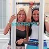 ATLANTIC CITY, NJ - JULY 06:  L-R  Jackie Bianchi  and Olivia Blois Sharpe performs on trapeze at Trump Taj Mahal on July 6, 2012 in Atlantic City, New Jersey.