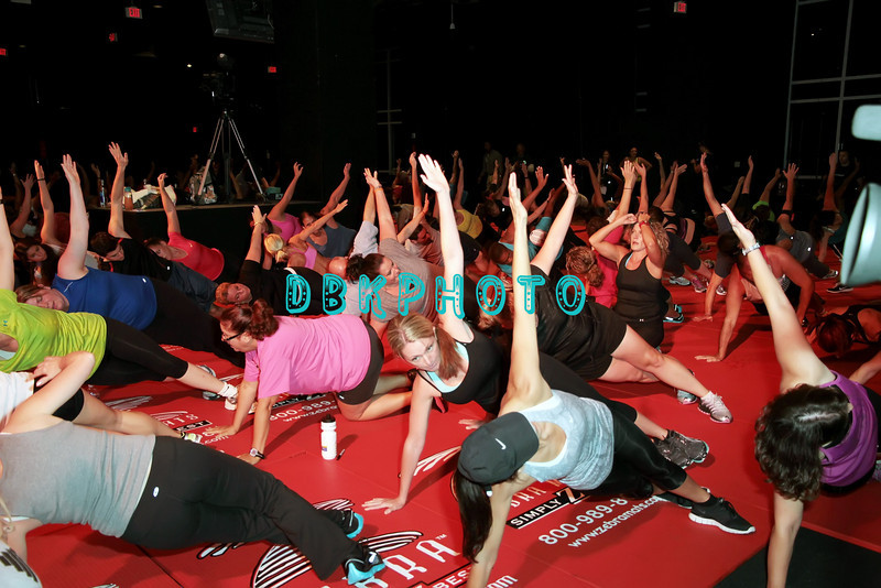 ATLANTIC CITY, NJ - SEPTEMBER 22: Fans workout with Jillian Michaels as she attends the Get Physical training event at the Showboat Atlantic City on September 22, 2012 in Atlantic City, New Jersey.
