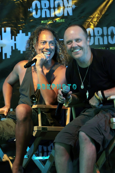 ATLANTIC CITY, NJ - JUNE 22:  Kirk Hammett and Lars Ulrich of Metallica takes questions as they attend the 2012 Orion Music + More Festival Press Conference at Bader Field on June 22, 2012 in Atlantic City, New Jersey.