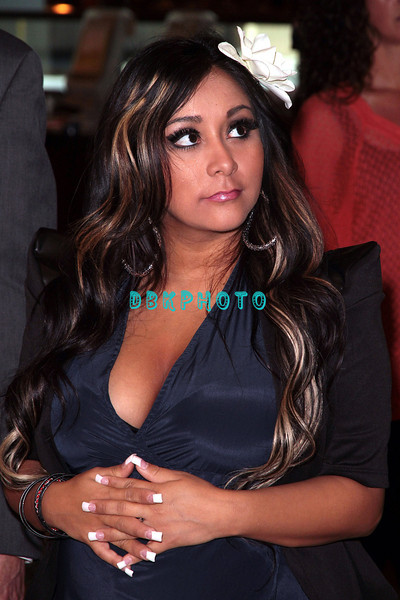 """ATLANTIC CITY, NJ - JULY 25:  Nicole """"Snooki"""" Polizzi attends the Earl of Sandwich Showboat Casino Grand Opening ribbon cutting ceremony on July 25, 2012 in Atlantic City, New Jersey."""