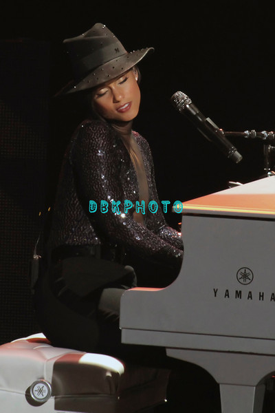 ATLANTIC CITY, NJ - April 13, 2013:  Alicia Keys appears in concert in Ovation Hall at Revel in Atlantic City.