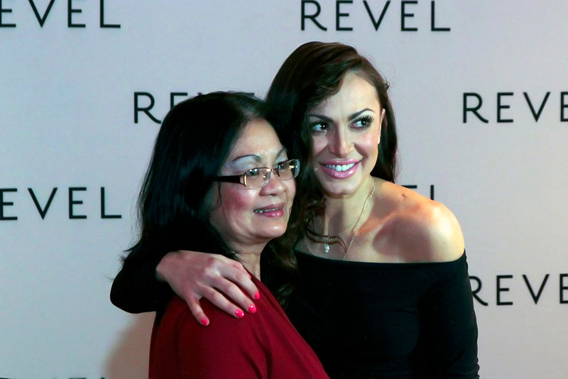 ATLANTIC CITY, NJ - FEBRUARY 15: Karina Smirnoff poses with a fan at her Valentine's Fan Meet And Greet at Revel Casino on February 15, 2013 in Atlantic City, New Jersey.