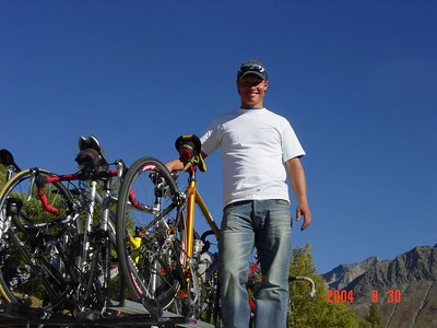 MS Global staff, Daniel, securing the bikes for the transfer