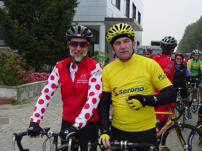 Alumni Bob and Mike, wear their prize jerseys with pride.  Each night a Serono polka dot, green and yellow jersey are presented