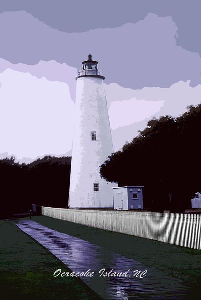 Ocracoke Lighthouse  and Overcast Skys ca 2001