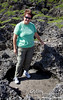 Some of the terrain is a bit like I might expect on the Moon.  Here, Judy stands in a crater.