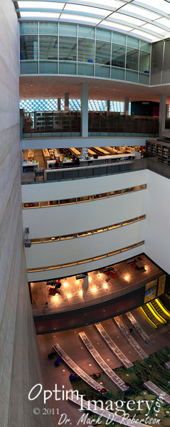 A panorama of several photos.  There is some distortion (actually amazingly little, considering that the first photo was taken looking almost straight down and the last one was looking almost directly up).  Taken from 8 floors up in the atrium.
