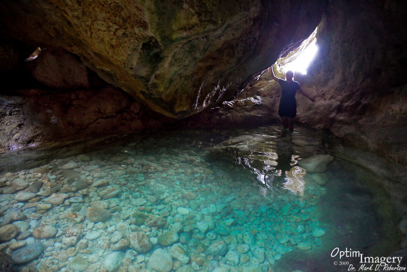 Just beyond that last pool is a cave, in which is one of the most refreshing little ponds on Saipan.  It goes by various names, including Cool Pool, Forbidden Grotto, and Hidden Forbidden.