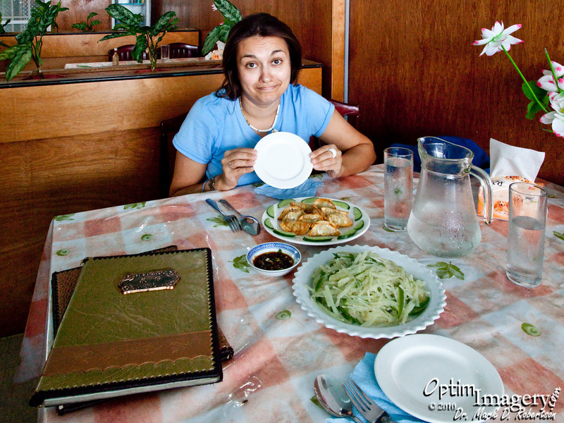 The local Tinian Asian food restaurant.  Long wait.  The servers totally disappear regularly into the back.  But the food is good.  As you can see, the plates we ate off of were small.  I think you did enjoy the food though, right Olga?