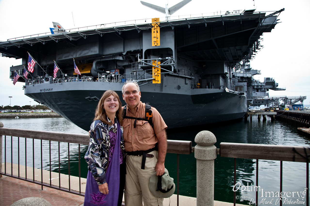 """Now we are on the San Diego Waterfront.  The U.S.S. Midway was the first United States aircraft carrier commissioned after the end of World War II.  She saw plenty of action, including Vietnam and Operation Dessert Storm.  Decommissioned in 1992, she finally made it to a permanent dock built just for her here in San Diego in 2004 to become a maritime museum.<br /> <br /> Because there is such a large area covered on the """"Map This"""" function for this album (from Utah to San Diego), to see the relative locations of the San Diego photos, you will need to zoom in, as described in the Bowknot Bend photo (except, highlight one of the San Diego thumbnails in the right-hand column and then use the zoom tool to...um....zoom in on it)."""