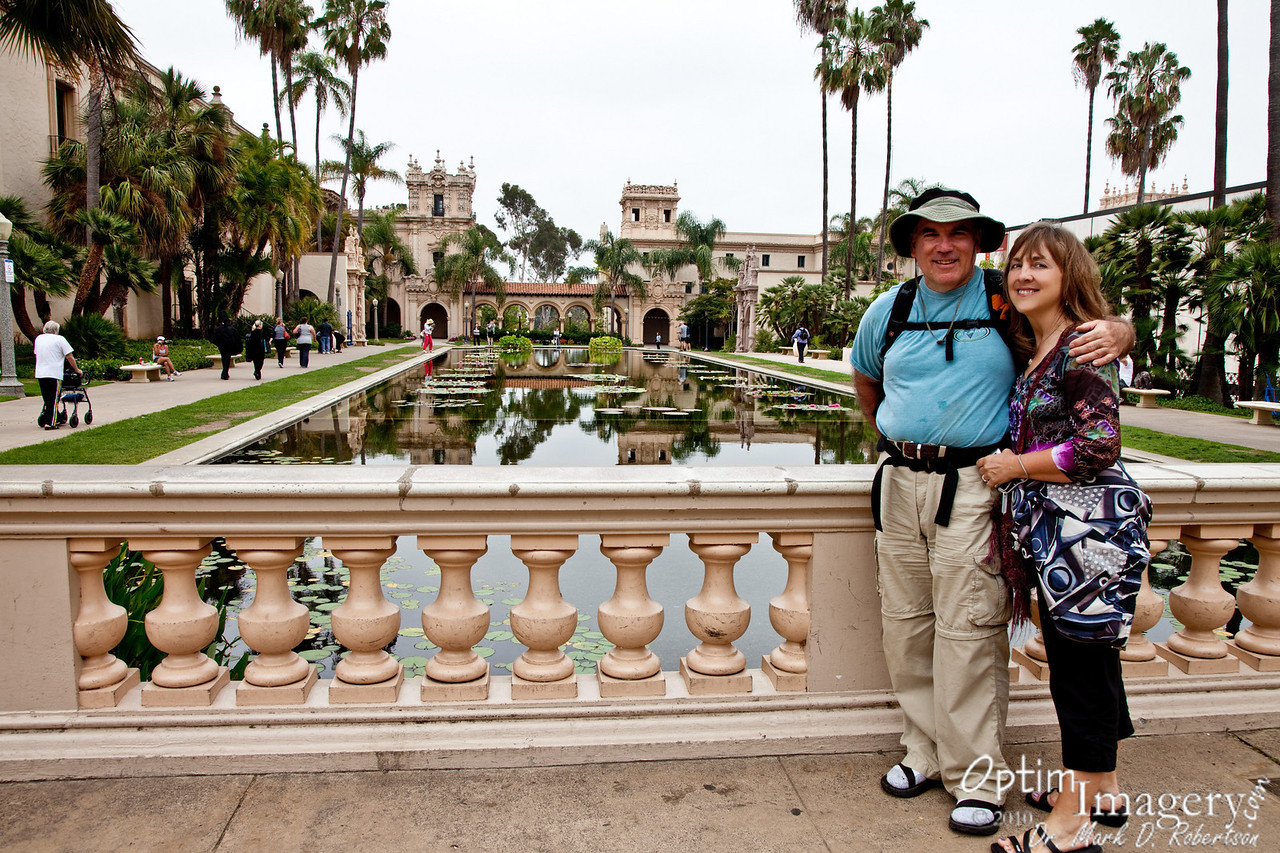 The Botanical Garden is immediately behind Olga as she takes this shot.  Wonderful reflecting pool leads up to it.
