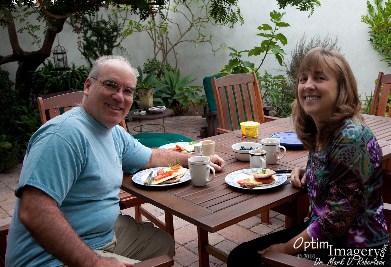 This B&B has a secluded outdoor common area which is perfect for relaxing breakfasts.