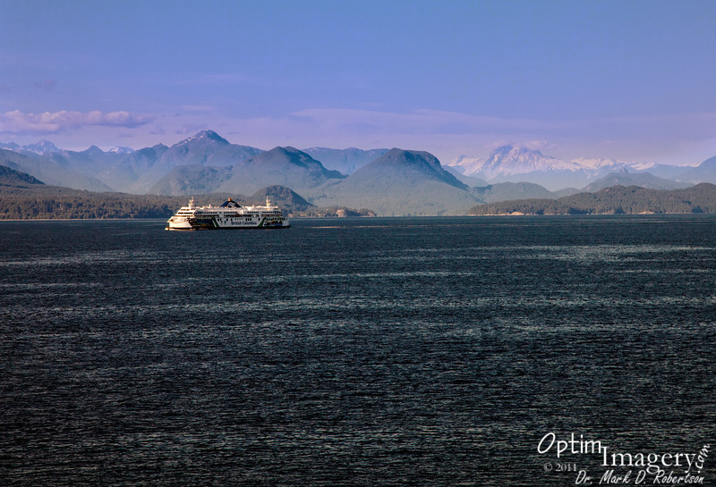 One of the other ferries along this route.  Spectacular mountains to the north.