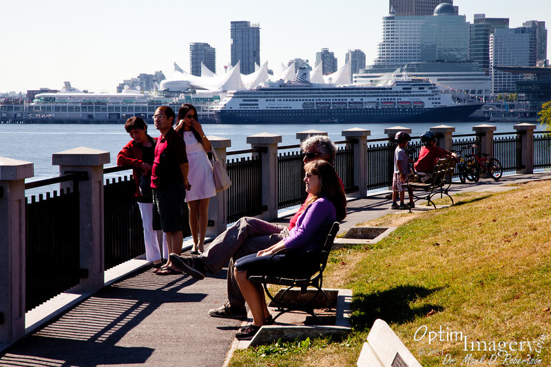 Looking toward Vancouver's World Trade Center and cruise ships from Brockton Point (Stanley Park).