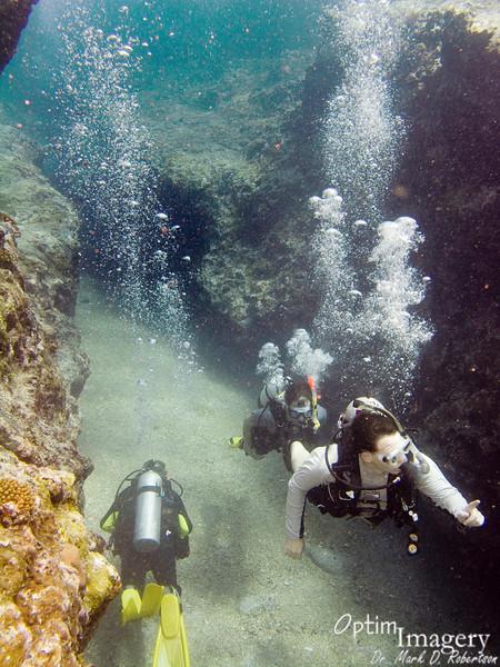 Sightseers enjoy touring the 2-lane underwater highway.