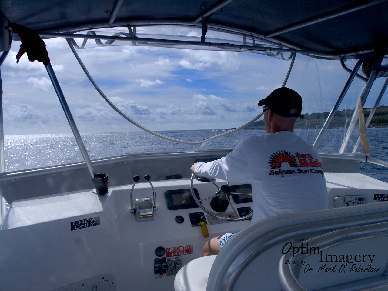 Our captain skillfully approaches the north end of the island.
