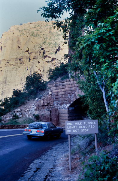 While others were seeing the premier of CLOSE ENCOUNTERS OF THE THIRD KIND, we were navigating through a mile-long tunnel near Zion National Park.  Don't pay any attention to the bottom line of the sign!