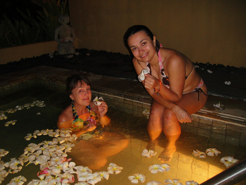 BeverLi and Olga Shakalova at the hot plumeria pool, Mandi's Spa, Marianas Resort, Saipan