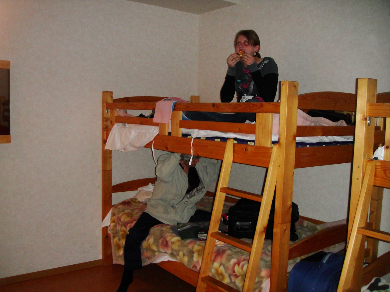 Our 1st night (of 5) at the Tokyo Backpackers Hostel.  We shared the room with girls from Holland, Germany, Indonsia, and Japan...yes, Patti and I were the most mature guests in the establishment.