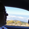 My good driver on tiny curvy roads on the cliffs around the island,  This road went up the volcano