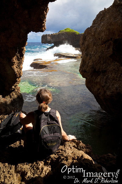 "Here we are in the big ""picture window"" of the first Hidden Beach Cave."