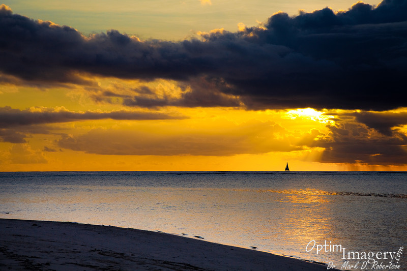 One of our sunset cruise boats out on the Saipan Lagoon.