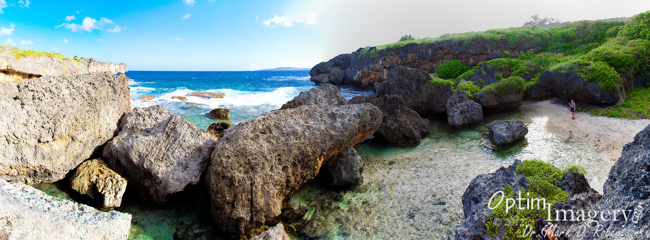 """18-photo panorama.  Those of you familiar with the """"Crocodile"""" at Hidden Beach may think that the """"snout"""" you see to your upper left is the south side of the Hidden Beach Croc, but it's not.  Hidden Beach is the next beach to the south, so it would be to your right (over the ridge)."""