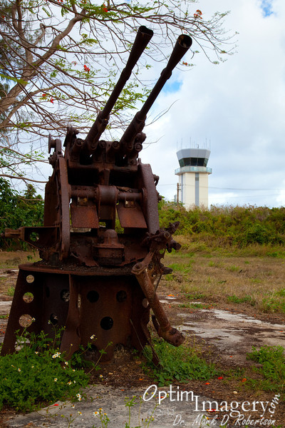 Anti-aircraft gun, with Isley Field control tower in the background.