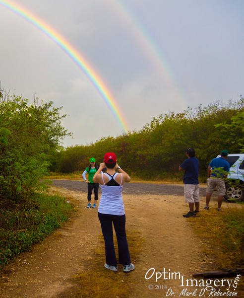 """At the trail head we are greeted by a double rainbow -- always a good omen.  <br /> <br /> Our reaction to the double rainbow was quite mild compared to some (see  <a href=""""http://www.youtube.com/watch?v=OQSNhk5ICTI"""">http://www.youtube.com/watch?v=OQSNhk5ICTI</a> )"""