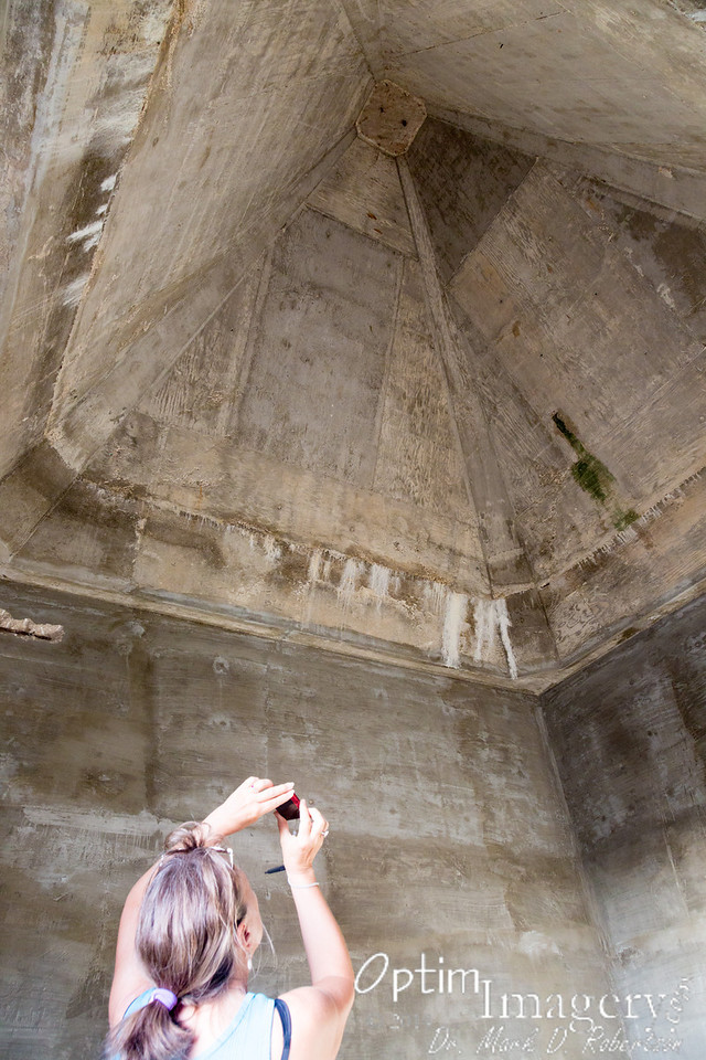 Bev in one of the towers.