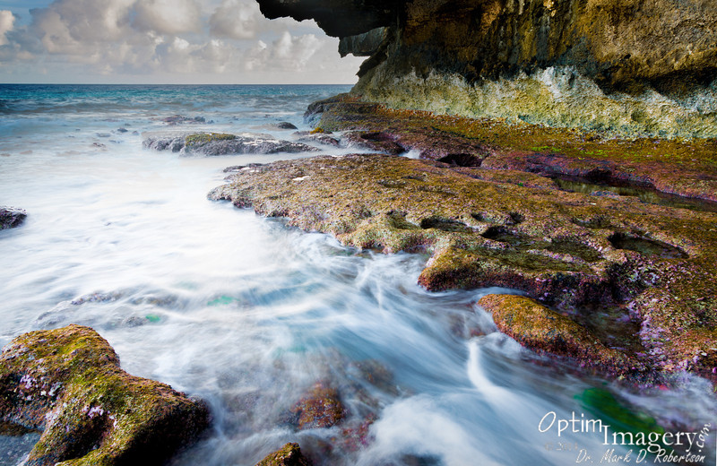 Long shutter speeds allow the capture of the motion of the waves.