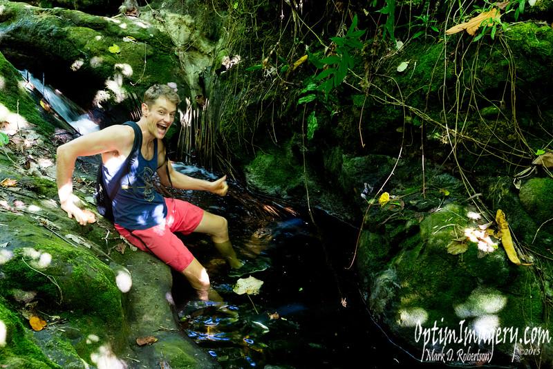 Jordan takes a refreshing dip.