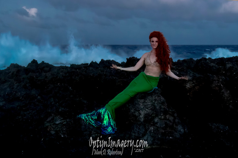 There were other mermaids through the evening, and even one merman (NOT me! Leon!). I was concerned enough about my camera that for the rest of the night I just held a couple of flashlights on the mer-people in the hope that others could get some memorable photos.